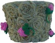 Горшок для цветов Розовые розы к празднику,  ручной работы
