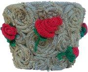 Ручная работа. Горшок для цветов Красные розы. Отличный подарок