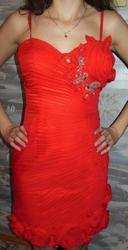 Продам красное коктейльное платье